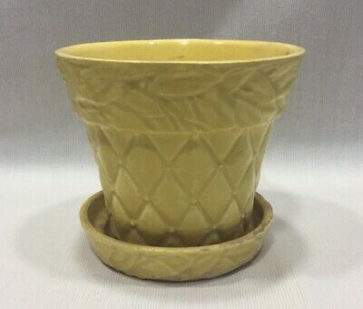 Vintage McCoy Yellow Planter/Flower Pot in Quilted Design w/ Attached Saucer