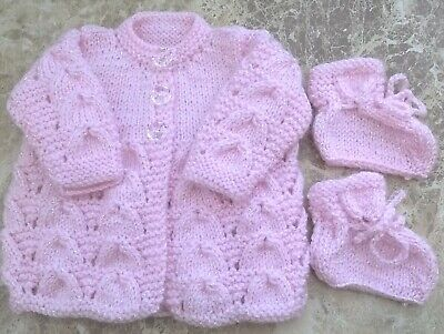 Beautiful Lilac Sparkle Hand Knitted Baby Cardigan Newborn With Matching Bootees