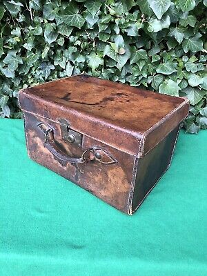 Superb Rare Victorian Antique Leather Hatbox Case Vintage Luggage Display Prop