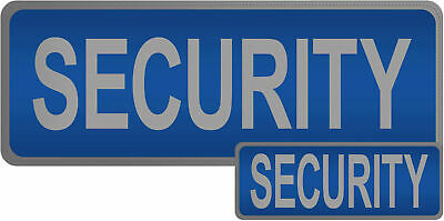 SECURITY Reflective Badge Set BLUE Hook & Loop Door Staff Guard Doorman SIA