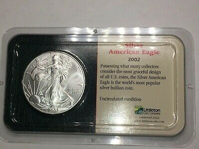2002 American Eagle Silver Dollar Uncirculated - In Littleton Holder