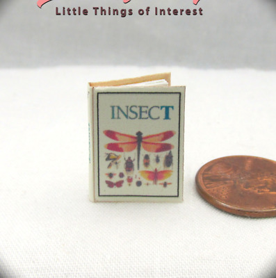 INSECTS ILLUSTRATED Dollhouse Miniature Book 1:12 Scale Readable Book