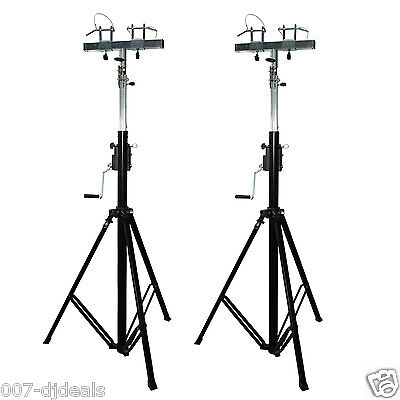 Pair of Prox xt-crank14ft-220 Crank up lift truss adapter lighting stands DJ PA
