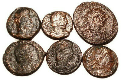 Lot of 6 Æ2-4 Ancient Roman Bronze Coins from III.-IV. Century
