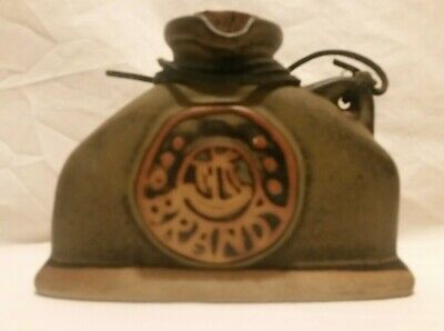 Tremar UK Brandy Flask With Leather Strap & Cork Stopper Has A Gallion On Front