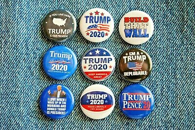 "Donald TRUMP 2020 Pin Pinback Button 1"" Build the wall MAGA CNN Fake News LOT"