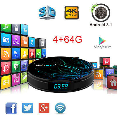2019 HK1 Plus 4+64GB Android 8.1 S905X2 Quad Core TV Box WIFI 4K 3D Media Player