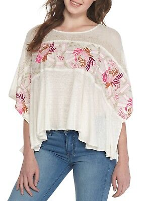 Free People Love Letter Embroidered Tee Top Blouse Crochet Lace Ivory XS New