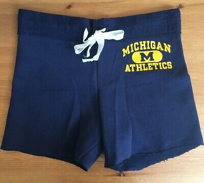 7aa72220585 Vintage Reworked Michigan Athletics Sweatpant Fleece Shorts Navy University  Med