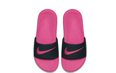 86bf8eabed6c6 Nike Kawa Girls Slide Sandals Flip Flop Shoes Size 4 Pink Black NWT Youth GS