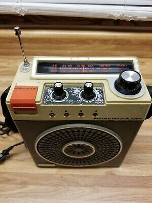 Vintage Portable Westminister AM/FM Radio 8 Track Player RARE AC/DC W/Strap