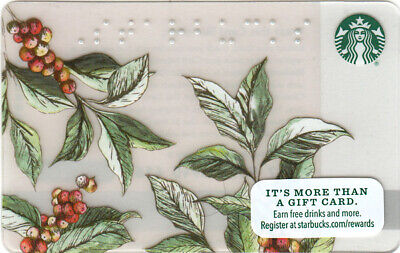 Starbucks Coffee Empty Gift card coffee Fruit Leaf Braille 2016 - No $ Value