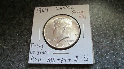 1964 P KENNEDY SILVER HALF DOLLAR in BLAST CHOICE GEM BU,FROM ORIGINAL ROLL,NICE