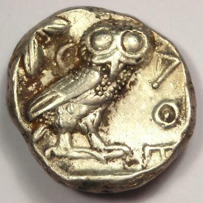Ancient Athens Greece Athena Owl Tetradrachm Coin (454-404 BC) - Choice VF !