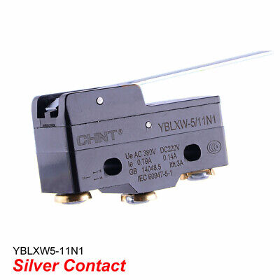 Limit/Micro Switch Hinge Long Lever SPDT Silver Contact YBLXW5-11N1 AC380V 0.79A
