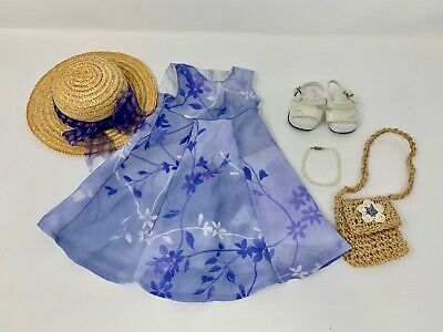American Girl Doll 2001 Periwinkle Blue Flower Dress & Hat & Accessories