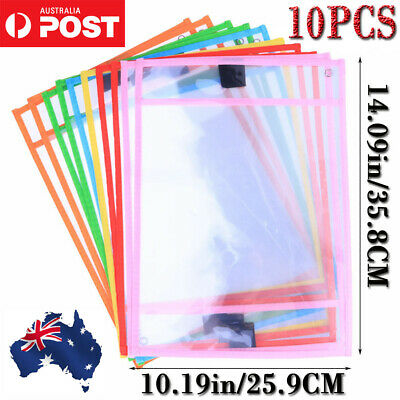 10PC Reusable Dry Erase Pocket Sleeves Students Kids Write and Wipe Tool Pockets