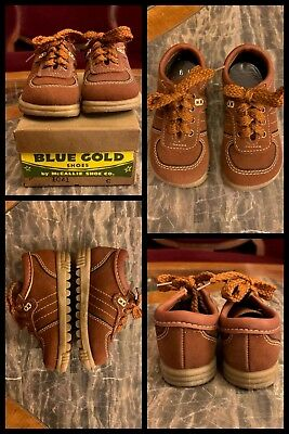 1970s Oxford Shoes Brown School Dress Ties Hippy Lace Up Tread w/ BOX Boys 6