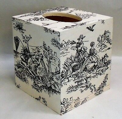 Made To Order, Handmade Decoupage Wood Tissue Box Cover, Vintage French Toile