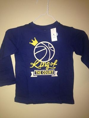 Gap Kids Baby Toddler Navy Long Sleeve Basket Ball King of the Court Tee SZ 4 4T