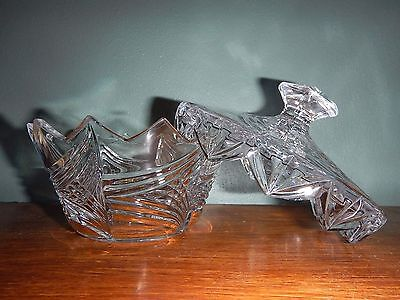Vintage Clear Cut Etched Glass Large Covered Sugar Bowl Candy Dish Zig-Zag Edge
