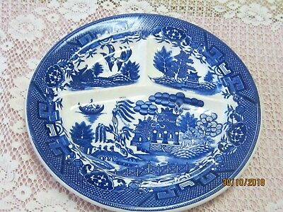 Vintage Moriyama Flow Blue willow Divided Grill plate Made in Occupied Japan