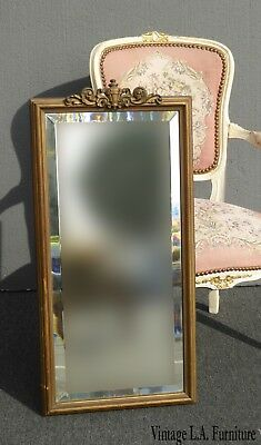 Antique French Provincial Country Gold Wall Mantle Mirror Beveled Mirror