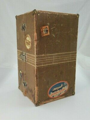 "VINTAGE 1950's LARGE TOY STEAMER TRUNK FOR 18"" DOLL FULL OF CLOTHES"