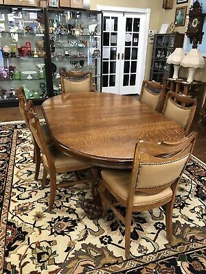 Antique Oak Dining Table Claw Feet Carved Base 6 Oak Chairs Leather Back Seat