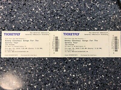 2 Tickets - Kenny Chesney - Fri. April 19, 2019 - The Anthem Washington, DC - GA