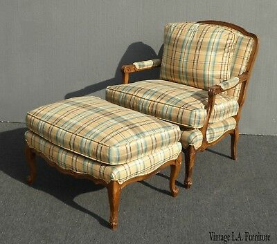 Vintage Ethan Allen Style Gold Plaid Chair & Ottoman Down Feather French Country