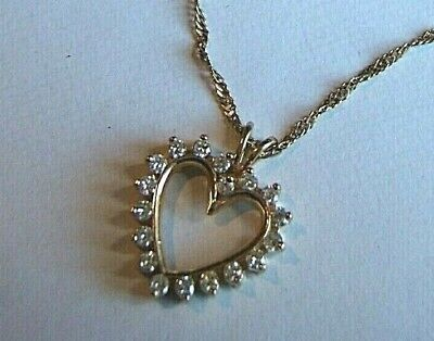 "Kay Jewelers 14K Large Diamond Heart 1.0 Ctw Pendant Necklace 18"" Chain 6.0Gr"