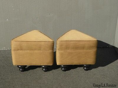 Pair of Tan Triangle Shaped Ottomans Benches ~ French Country Traditional