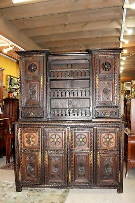 French Antique Carved Oak 6 Door Brittany Buffet / Bar / Hutch Cabinet Furniture