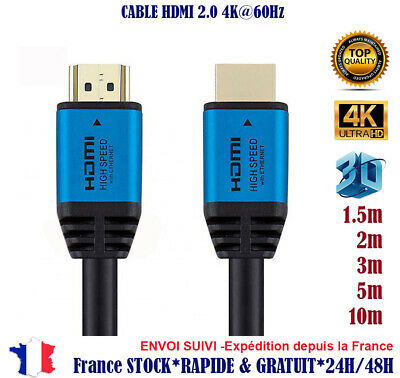 10 ou 1 x 1,5 2 3 5 10 m Cable hdmi 2.0 4K 60Hz ultra HD 2160p 3D Full HD HDTV