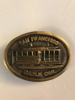 Vintage San Francisco Cable Car Solid Brass Belt Buckle