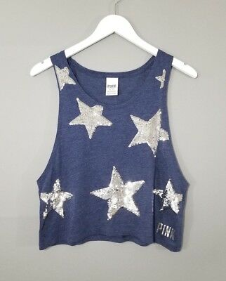 PINK VS Womens Navy Blue Silver Sequin Star Loose Crop Tank Size XS