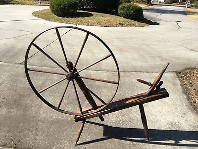 Antique Wooden Great Walking Wheel Spinning Wheel Wool Yarn Vintage Circa 1800