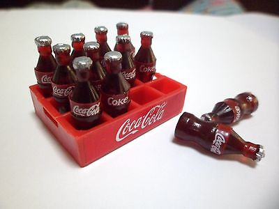 12 Coca Cola Bottles And TrayDollhouse miniature Food,Collectibles,Coke,Cute