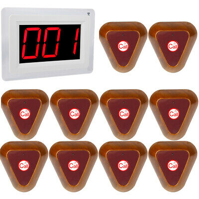 Restaurant Wireless Guest Paging Queuing System 10Call Button Pager 433MHz 999CH