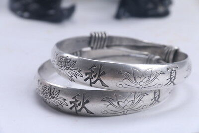 Exquisite Chinese Hand carving  flowers Tibetan silver Bracelet  ad571
