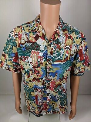 b290f2c2466b75 Vintage Hilo Hattie Hawaiian Shirt Hula Dancers Party People Sz Medium