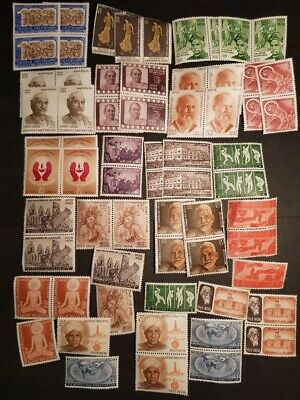 INDIA - Blocks of 2 and Single Stamps - MINT UNHINGED