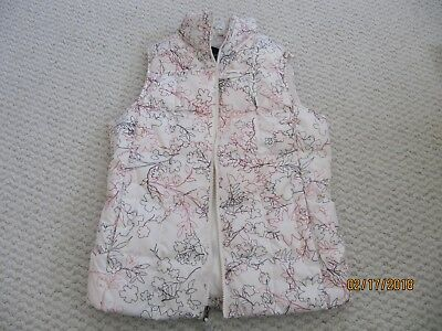cd1ed6c2e1 LANDS' END GOOSE Down Floral Print Quilted Puffer Vest Off White Women Small