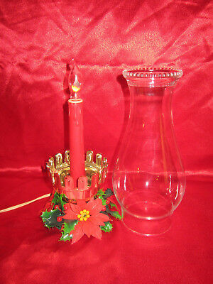 RARE Vintage NOMA Elec HURRICANE Faux OIL LAMP CHRISTMAS LIGHT w FLICKER BULB