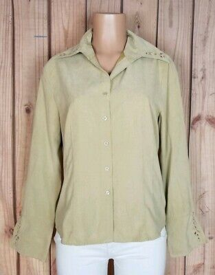 6f48510d WORTHINGTON Womens Size Large Long Sleeve Shirt Button Tan Suede Feeling Top