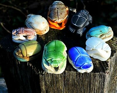 SET of 7 Vintage 1930s Stone Ceramic Hand Cast Carved Faience Egyptian Scarabs