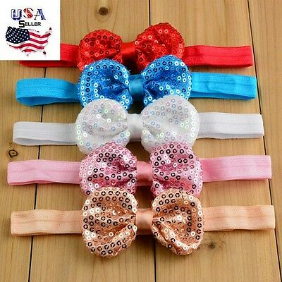 Lot of 21 Sequin Bow Headbands Puffy Bows Sparkly Bows Baby Toddler Girls