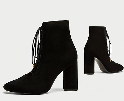97279a45ff7 ZARA FW 2018 -Embroidered-Satin-High-Heel-Ankle-Boots-37-Ref-6065 ...