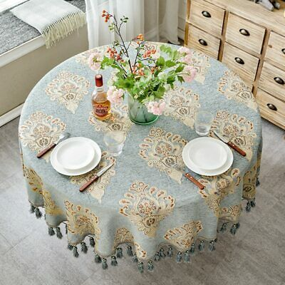 Round Shape Table Cloth With Tassel Embroidered Home Decoration